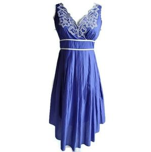 Adriana Papell Blue Cotton Embroidered Dress